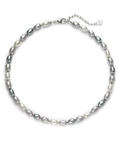 Majorica - 9MM White, Grey & Nuage Freshwater Pearl Sterling Silver Strand Necklace