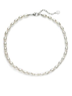 Majorica - 9MM White Freshwater Pearl Sterling Silver Strand Necklace