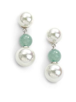 Majorica - 10MM-12MM White Round Pearl & Green Quartz Sterling Silver Earrings