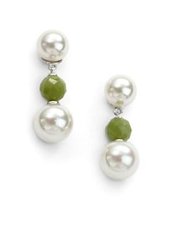 Majorica - 10MM-12MM White Round Pearl & Jade Sterling Silver Earrings
