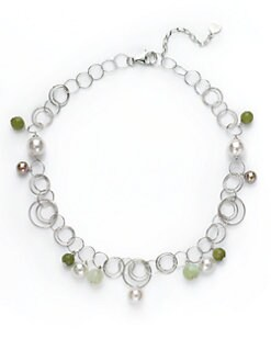 Majorica - 10MM-12MM White & Aubergine Round Pearl & Jade Sterling Silver Necklace