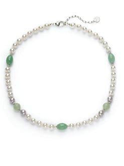Majorica - 8MM White & Nuage Round Pearl, Jade & Green Quartz Sterling Silver Strand Necklace