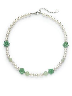 Majorica - 8MM White Round Pearl, Jade & Green Quartz Sterling Silver Flower Strand Necklace