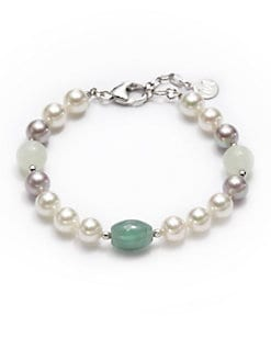 Majorica - 8MM White & Nuage Pearl Sterling Silver Bracelet