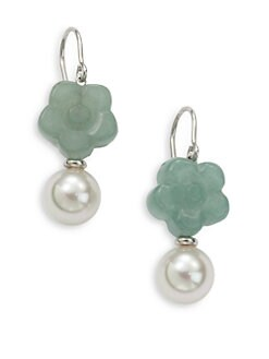 Majorica - 10MM White Round Pearl and Green Quartz Flower Sterling Silver Earrings