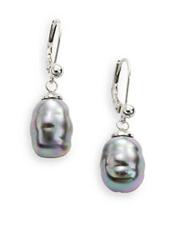 Majorica - 10MM Grey Baroque Pearl Sterling Silver Earrings