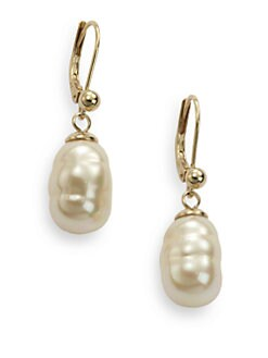 Majorica - 10MM Crema Rosa Baroque Pearl 18K Gold Vermeil  Earrings