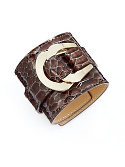 MaxMara - Python-Embossed Leather Cuff/Dark Brown