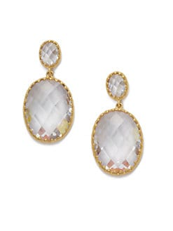 Belargo - Faceted Oval Drop Earrings/Goldtone