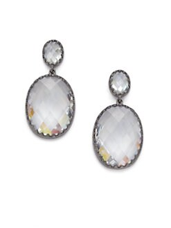 Belargo - Faceted Oval Drop Earrings/Silvertone