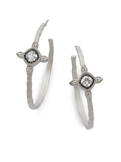 Belargo - Four Point Station Hoop Earrings/Silvertone