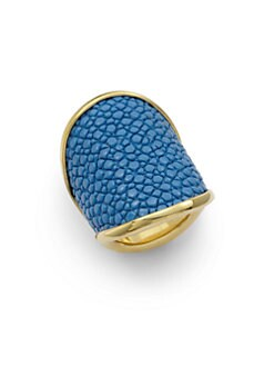 Adami & Martucci - Stingray Leather Saddle Ring/Blue