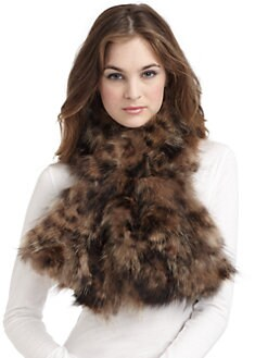 Adrienne Landau - Leopard Print Fur Scarf