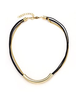 A.V. MAX - Multi-Chain Tube Necklace/Gold Black
