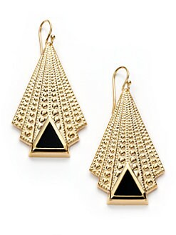 A.V. MAX - Enamel Triangle Deco Drop Earrings/Black