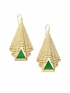 A.V. MAX - Enamel Triangle Deco Drop Earrings/Green
