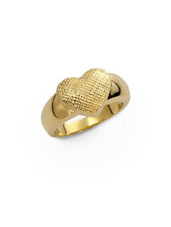Tuleste Market - Textured Single Heart Ring/Gold