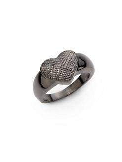 Tuleste Market - Textured Single Heart Ring/Gunmetal