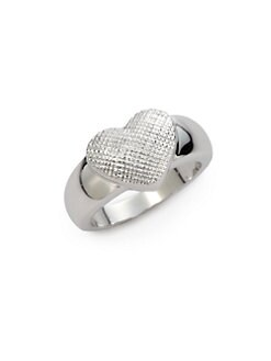 Tuleste Market - Textured Single Heart Ring/Silver