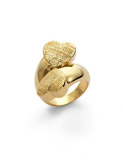 Tuleste Market - Textured Double Heart Ring/Gold