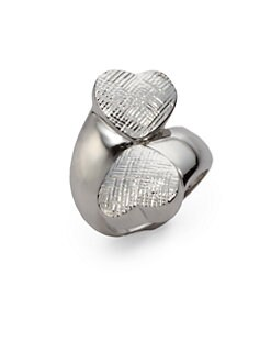 Tuleste Market - Textured Double Heart Ring/Silver