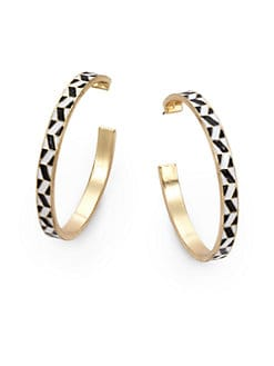Noir for L.A.M.B. - Enamel Tribal Hoop Earrings