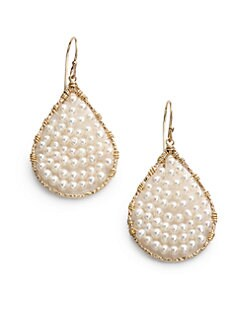 NuNu - 3MM-4MM White Pearl Layered Teardrop Earrings