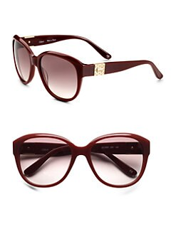 Chloe - Opaque Logo Sunglasses/Burgundy