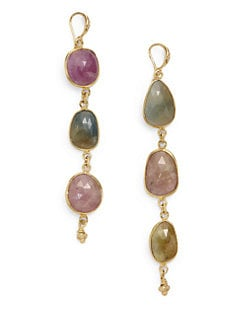 Indulgems - Sapphire Bezel Cut Drop Earrings
