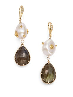 Indulgems - Labradorite & Pearl Flower Earrings