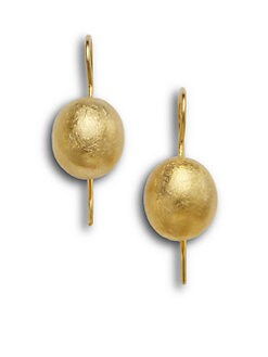 Rena Luxx - Textured Bead Earrings/22K Goldplated