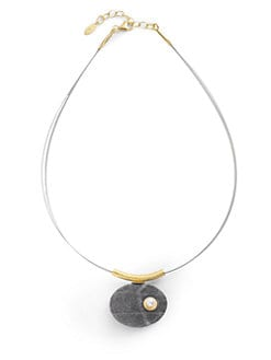 Rena Luxx - Pearl Accented Stone Pendant Necklace