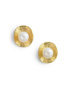 Rena Luxx - Pearl & Textured Disc Stud Earrings