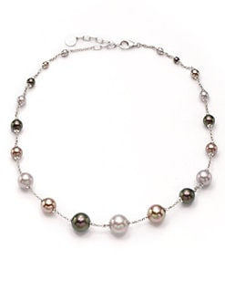 Majorica - 4MM-10MM Multi-Colored Round Pearl Sterling Silver Necklace