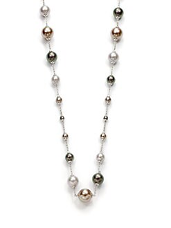 Majorica - 4MM-10MM Multi-Colored Round Pearl Sterling Silver Long Necklace