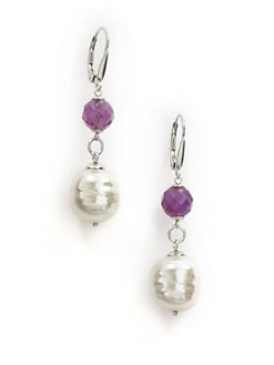 Majorica - 12MM White Baroque Pearl & Amethyst Sterling Silver Drop Earrings