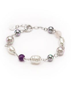 Majorica - 8MM-10MM Multi-Colored Pearl, Amethyst & Quartz Sterling Silver Bracelet