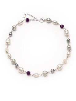 Majorica - Multi-Colored Pearl & Amethyst Sterling Silver Necklace