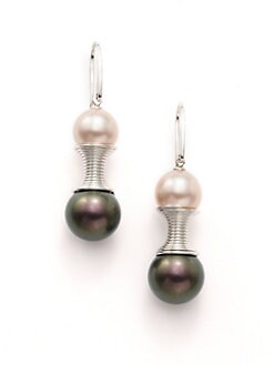 Majorica - 10MM & 12MM Pink & Tahitian Round Pearl Sterling Silver Spiral Earrings