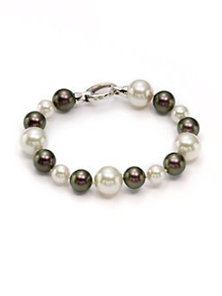 Majorica - 8MM-12MM White & Tahitian Round Pearl Sterling Silver Bracelet