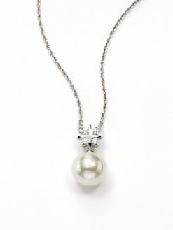 Majorica - 14MM White Round Pearl & Crystal Sterling Silver Grid Pendant Necklace