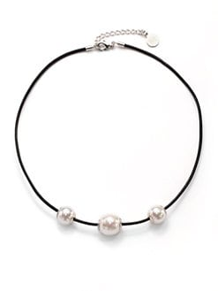 Majorica - 14MM White Round Pearl Cord Necklace