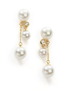 Majorica - 6MM & 8MM White Round Pearl & Crystal 18K Gold Vermeil Chain Drop Earrings
