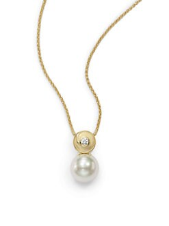 Majorica - 12MM White Round Pearl & Crystal 18K Gold Vermeil Swirl Pendant Necklace