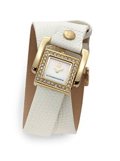 BCBGMAXAZRIA - Square Crystal, Mother of Pearl & Leather Cuff Wrap Watch