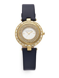 BCBGMAXAZRIA - Round Crystal & Leather Yellow Gold Watch