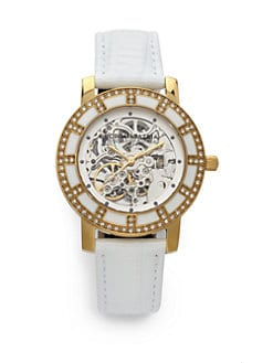 BCBGMAXAZRIA - Round Crystal & Enamel Yellow Gold Watch/White