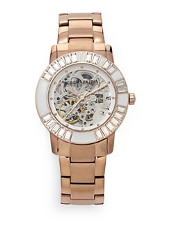 BCBGMAXAZRIA - Round Crystal & Enamel Rose Gold Bracelet Watch