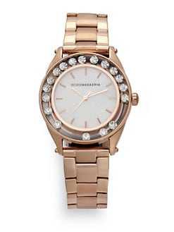 BCBGMAXAZRIA - Round Crystal & Mother of Pearl Rose Gold Bracelet Watch