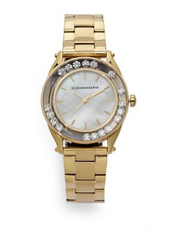 BCBGMAXAZRIA - Round Crystal & Mother of Pearl Yellow Gold Bracelet Watch